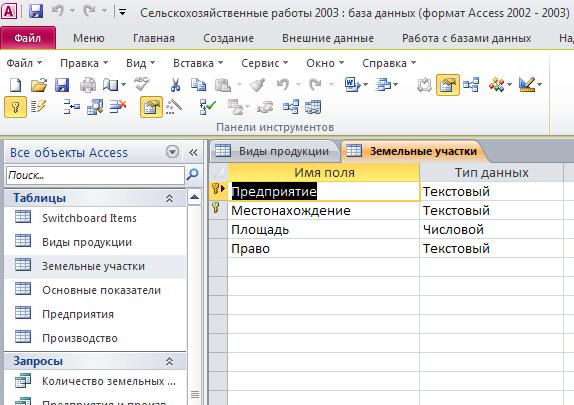 """Таблица """"Земельные участки"""". Пример базы данных access. Скачать базу данных access Сельскохозяйственные работы."""