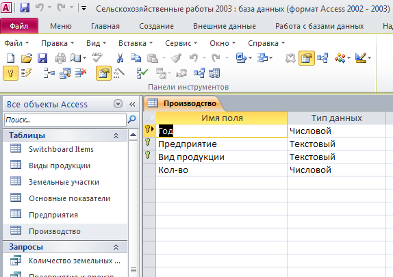 """Скачать базу данных Сельскохозяйственные работы. Таблица """"Производство"""". Пример базы данных access."""