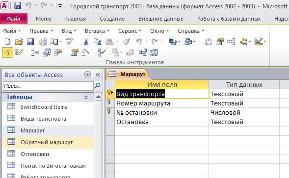 "Скачать базу данных (БД) Городской транспорт. Таблица ""Маршрут"". Пример базы данных access."