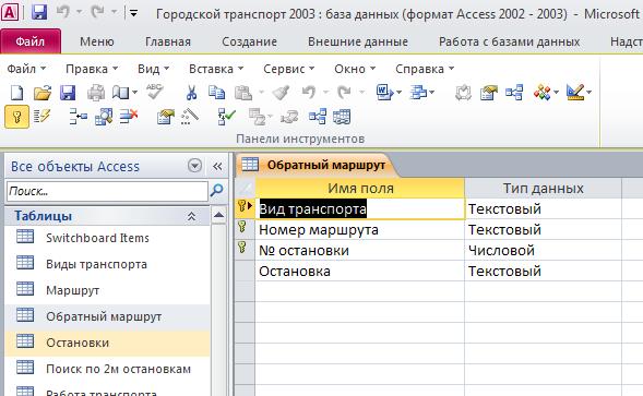 """Пример базы данных access. Скачать базу данных (БД) Городской транспорт. Таблица """"Обратный маршрут"""""""