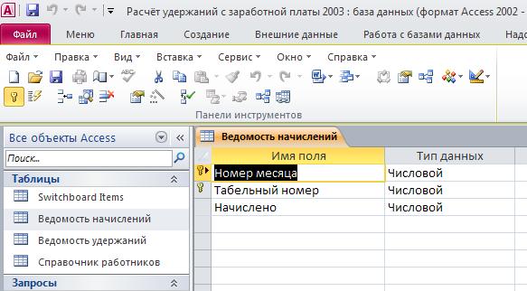 """Рис. 2 Скачать базу данных Расчёт удержаний с заработной платы. Таблица """"Ведомость начислений"""". Пример базы данных access."""