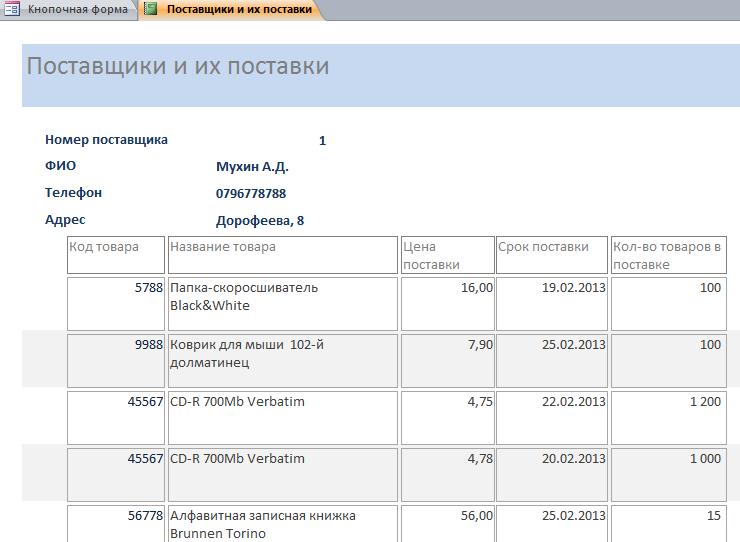 Отчёт Поставщики и их поставки в бд Оптовая база