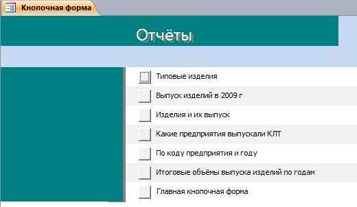 Отчёты готовой бд Производство. База данных access.