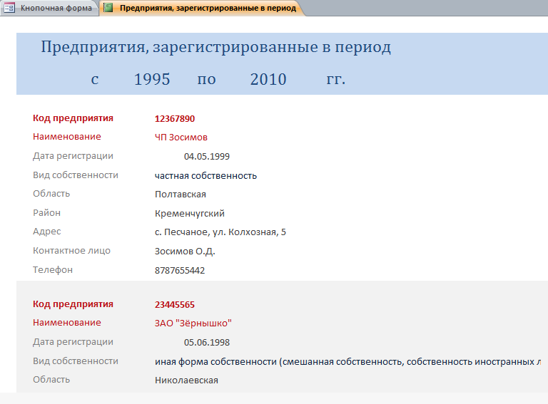 """Отчёт """"Предприятия, зарегистрированные в период"""""""