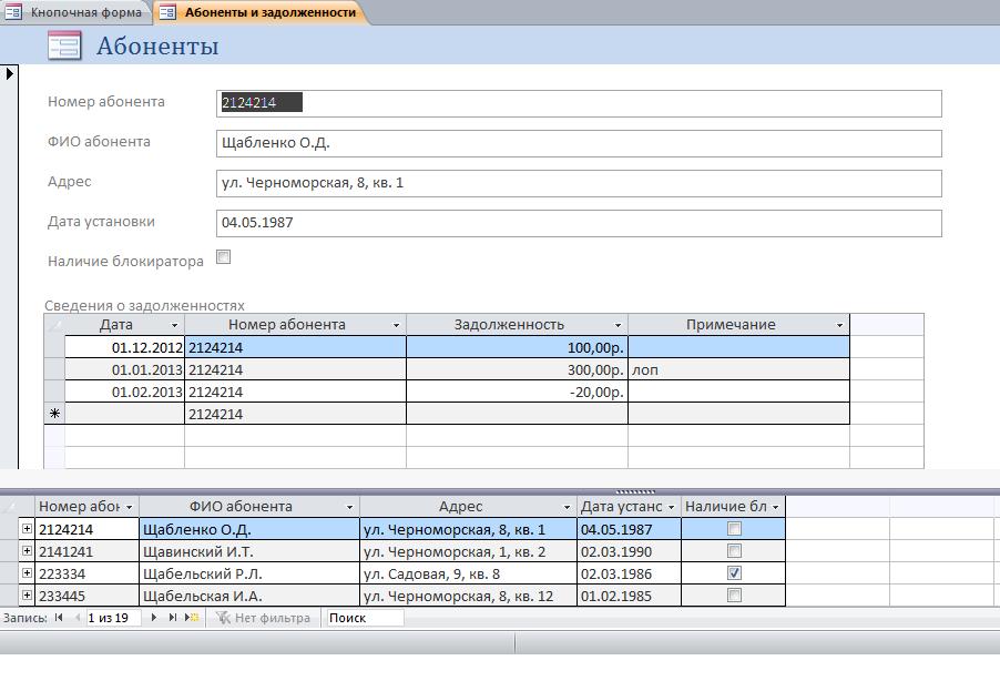 Форма Абоненты и задолженности телефонной станции в базе данных
