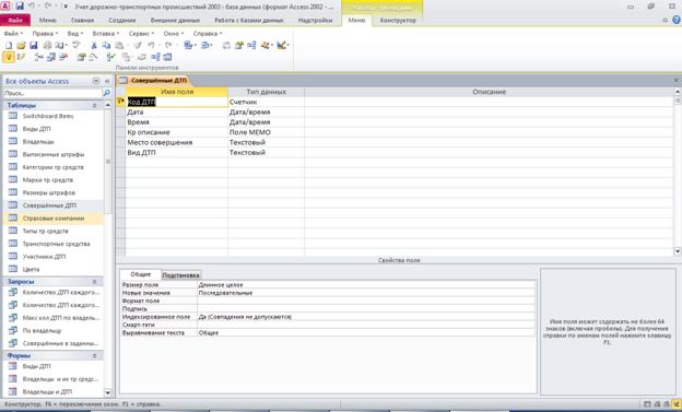 """Рис.8 Скачать базу данных (БД) «Учет дорожно-транспортных происшествий» (Учёт ДТП). Таблица """"Совершённые ДТП"""". Пример базы данных access."""