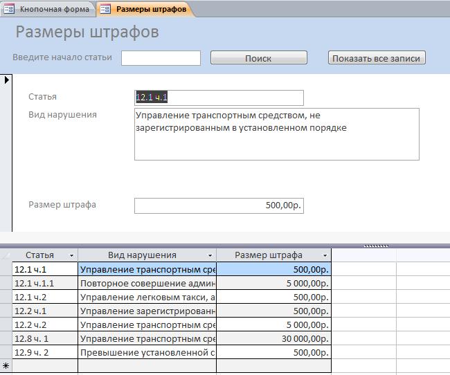 Форма базы данных учёта ДТП Размеры штрафов.