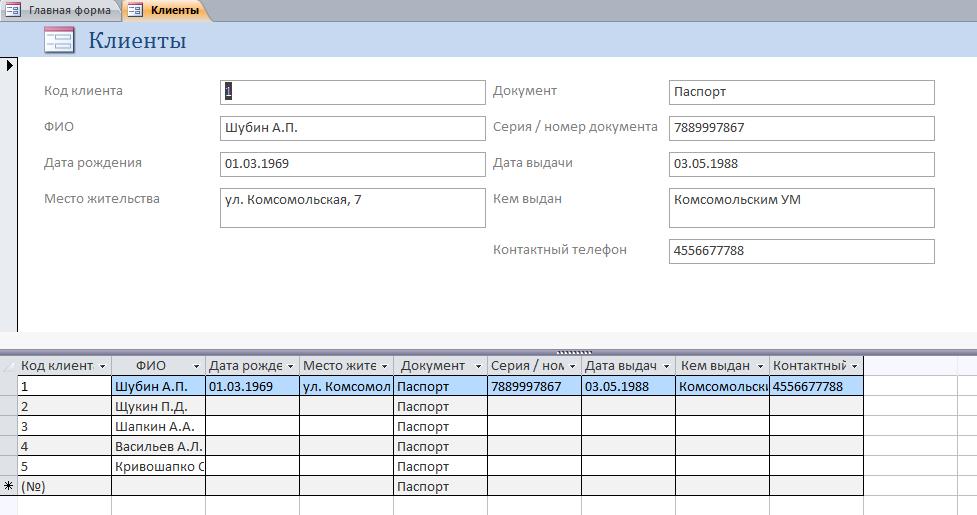 Форма Клиенты готовой базы данных Ломбард.