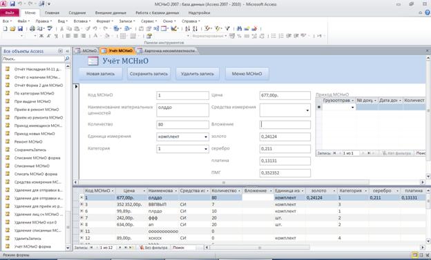 Форма учёта МСНиО. Готовая база данных access.