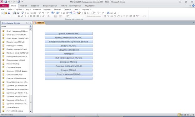 Главная форма базы данных МСНиО. Готовая база данных access.