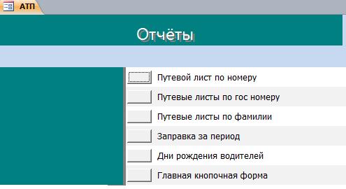 Отчёты в базе данных Автотранспортное предприятие.