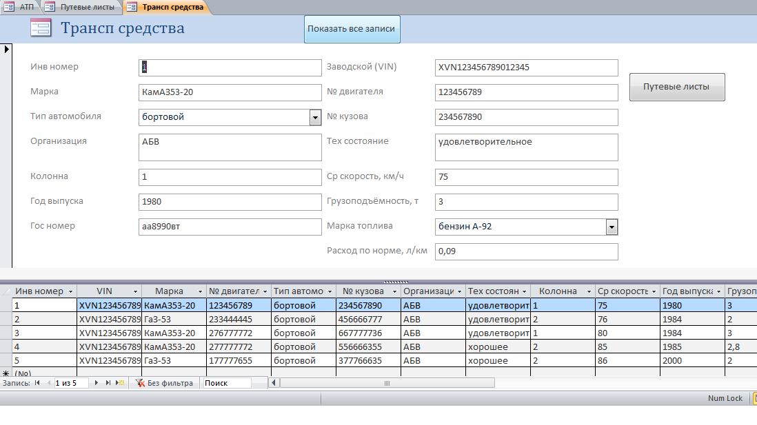 Форма Транспортные средства базы данных АТП.