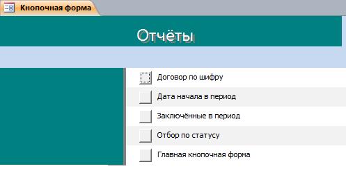 """Отчёты бд """"Договорная деятельность организации"""" в access."""