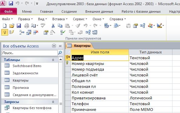 """Таблица """"Квартиры"""". Готовая база данных access."""