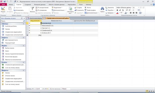 База данных access Формирование счетов на оплату в автосервисе. Таблица «Справочник исполнителей работ»: код исполнителя, ФИО