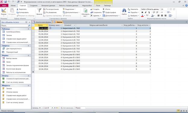 Готовая база данных Формирование счетов на оплату в автосервисе access. Таблица «Заказы»: дата, номер заказа, клиент, марка автомобиля, код работы, код исполнителя.