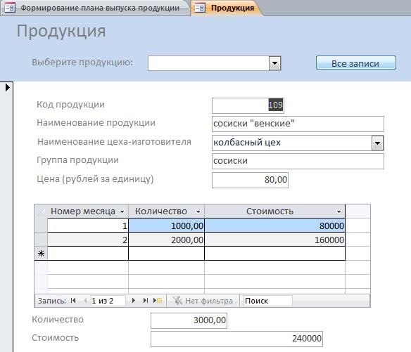 Форма Продукция. Готовая база данных Формирование плана выпуска продукции.