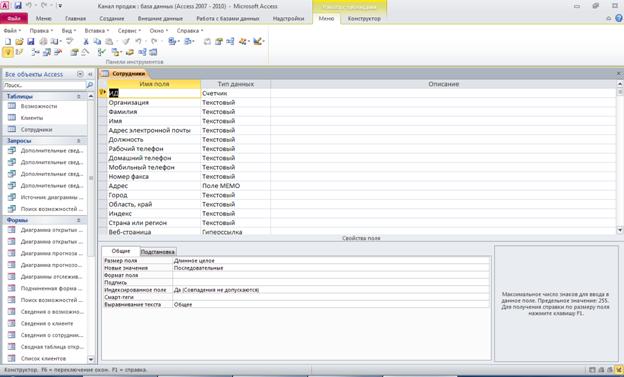"Рис. 4 Готовая база данных ""Канал продаж"" (по шаблону). Таблица ""Сотрудники""."