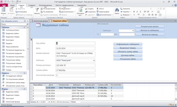 Форма «Выданные займы». Готовая база данных access.