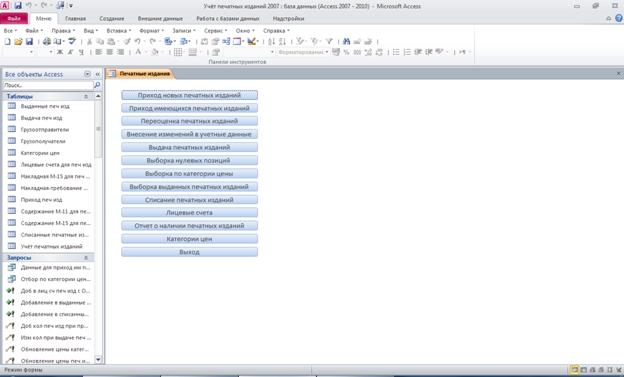 Главная форма для базы данных access «Учёт печатных изданий»