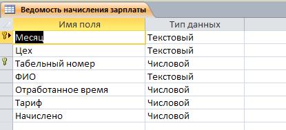 """Таблица """"Ведомость начисления зарплаты"""". Готовая база данных access."""
