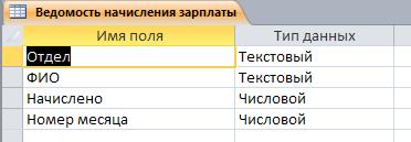 Таблица Ведомость начисления зарплаты. Готовая база данных access.