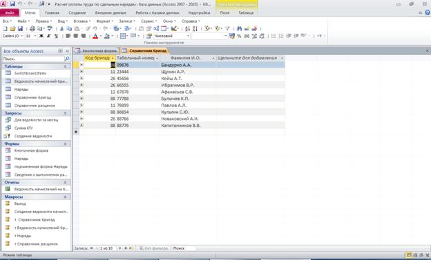 Готовая база данных Расчет оплаты труда по сдельным нарядам access. Таблица «Справочник бригад»: Код бригады, Табельный номер, Фамилия И.О.