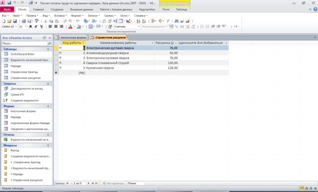 Расчет оплаты труда по сдельным нарядам. Готовая база данных access. Таблица «Справочник расценок»: Код работы, Наименование работы, Расценка (руб. за единицу измерения)