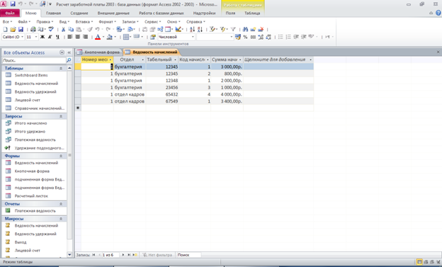 Расчет заработной платы база данных access. Структура таблицы «Ведомость начислений»: номер месяца, отдел, табельный номер, код начисления, сумма начислено.