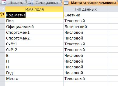 "Таблица ""Матчи за звание чемпиона"". Готовая база данных access."