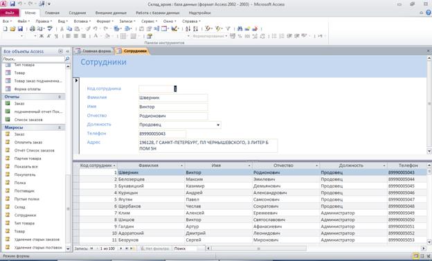 Форма «Сотрудники». Готовая база данных Склад access.
