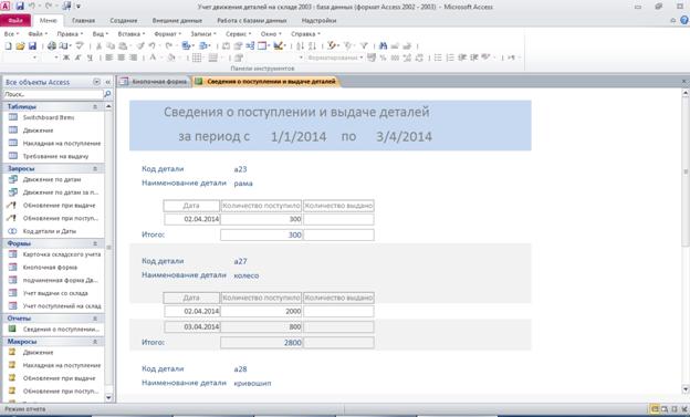 Отчет «Сведения о поступлении и выдаче деталей». Готовая база данных access.