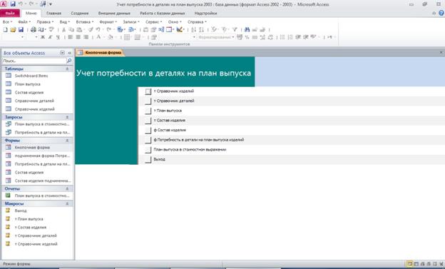 Access. Кнопочная форма базы данных «Учет потребности в деталях на план выпуска»