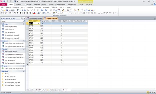 Готовая база данных access. Таблица «Состав изделия»: Код изделия, Код детали, Количество деталей в изделии