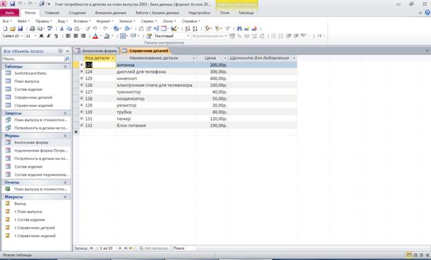 Готовая база данных access. Таблица «Справочник деталей»: Код детали, Наименование детали, Цена