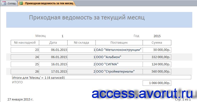 Скачать базу данных access Склад. Отчёт «Приходная ведомость за текущий месяц»