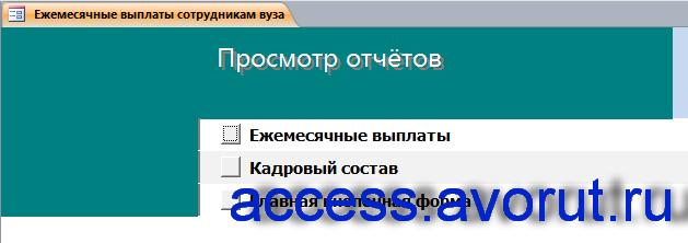 Страница «Просмотр отчётов» главной кнопочной формы готовой базы данных «Ежемесячные выплаты сотрудникам вуза».