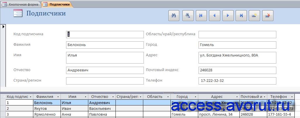 Форма «Подписчики». Скачать готовую курсовую базу данных отдела доставки почтового отделения.