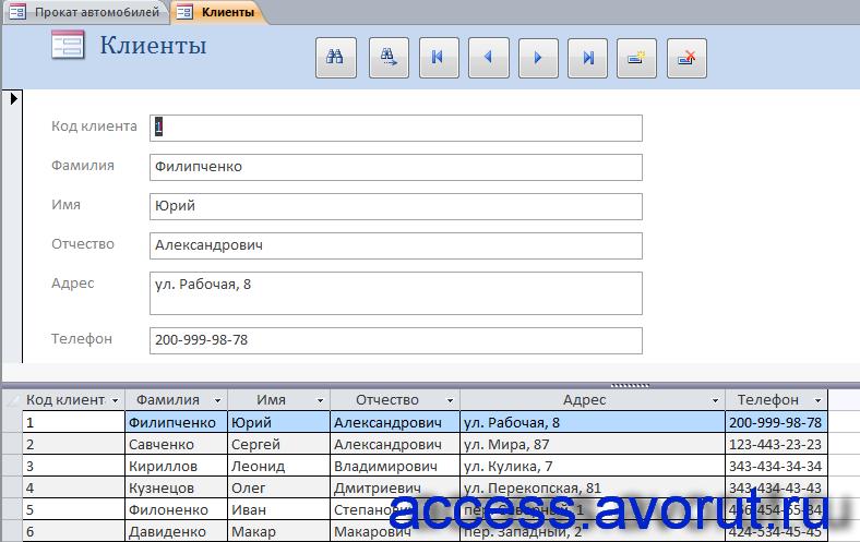 """Скачать пример базы данных access """"Прокат автомобилей"""". Форма «Клиенты»."""