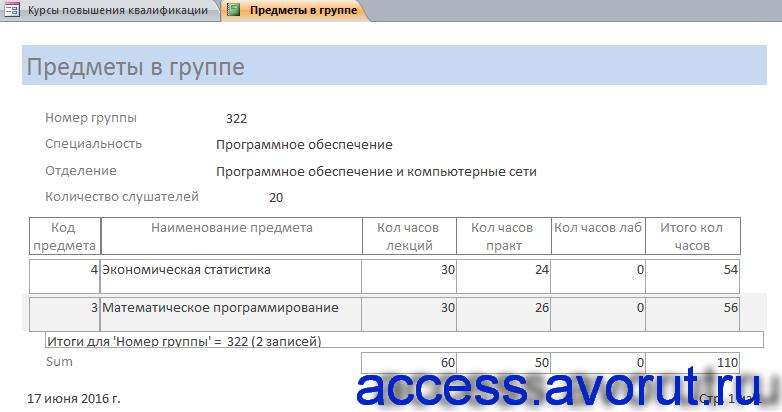 """Скачать готовую курсовую базу данных access """"Курсы повышения квалификации"""". Отчёт «Предметы в группе»."""