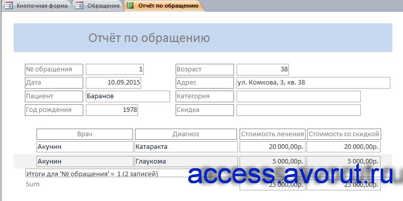 Отчёт по обращению, номер которого ввёл пользователь в окне для ввода параметра.