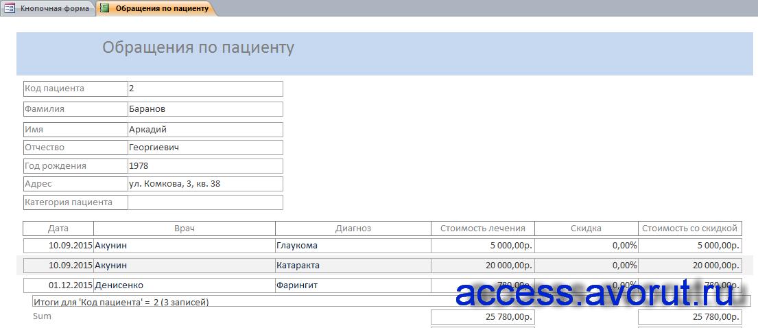 """Скачать готовую курсовую базу данных """"Платная поликлиника"""". Отчёт по обращениям пациента."""