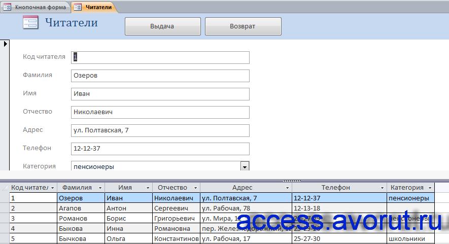 Форма «Читатели» базы данных «Библиотека».