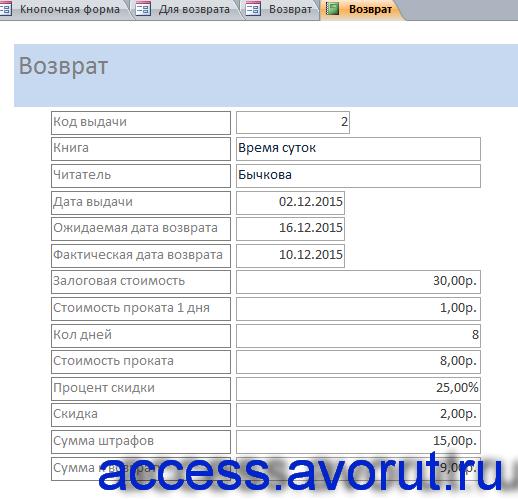 Пример готовой базы данных «Библиотека». Отчёт по текущему возврату.