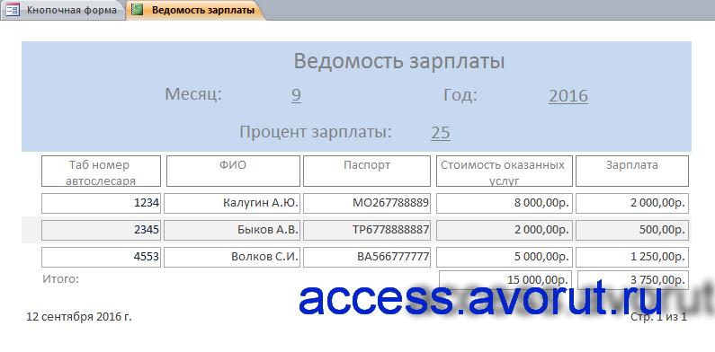 """Отчёт «Ведомость зарплаты» готовой базы данных аксесс """"Автосервис""""."""