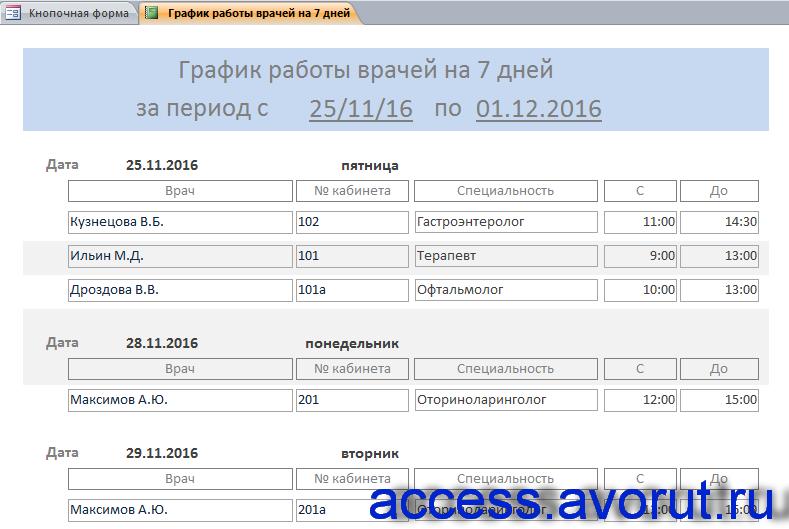 Скачать базу данных access «Бизнес-процессы поликлиники» - график работы врачей.