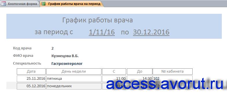 Скачать готовую базу данных access «Бизнес-процессы поликлиники» - отчёт.