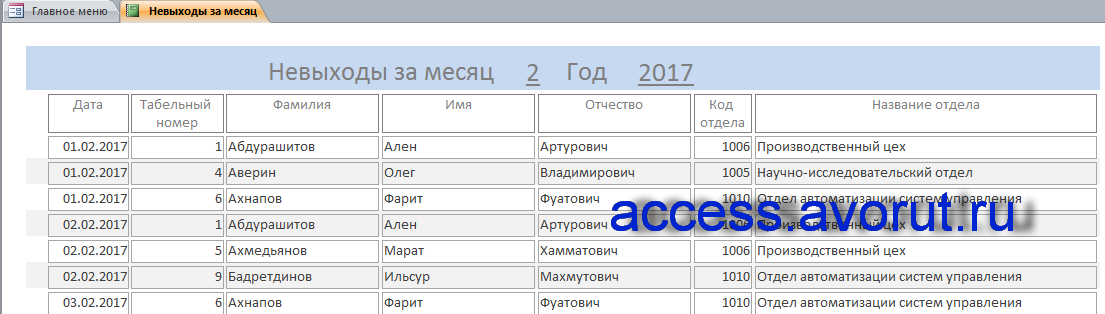 База данных Учёт опозданий и прогулов