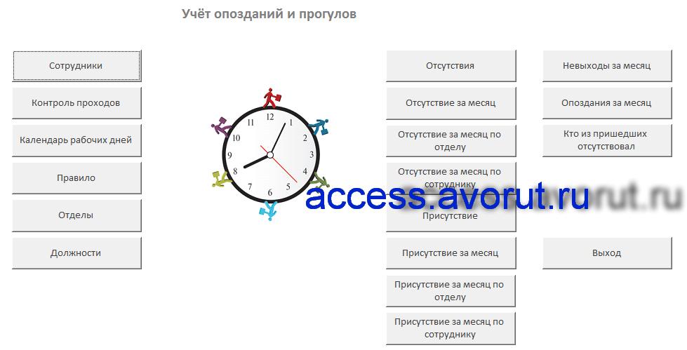 Главная форма базы данных «Учёт опозданий и прогулов».