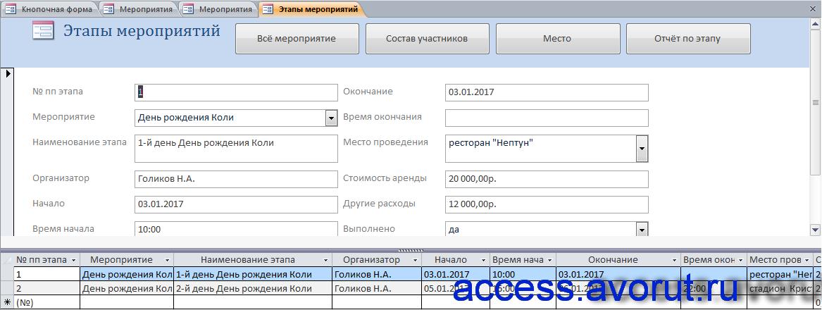 бд Access «Намечаемые мероприятия» база данных.
